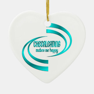 Cheerleading me rend heureux ornement cœur en céramique