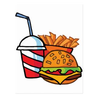Cheeseburger d'aliments de préparation rapide cartes postales