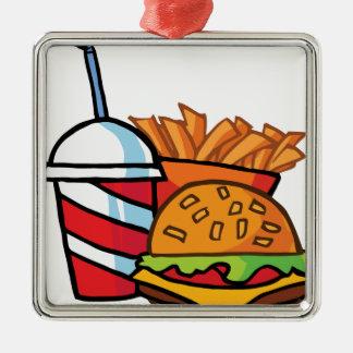 Cheeseburger d'aliments de préparation rapide ornement carré argenté