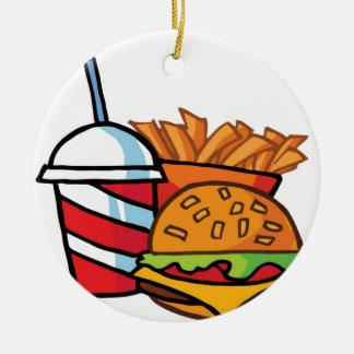 Cheeseburger d'aliments de préparation rapide ornement rond en céramique