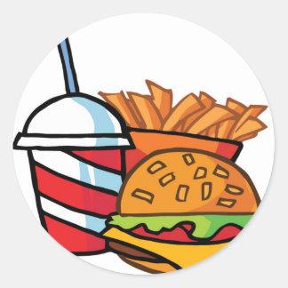Cheeseburger d'aliments de préparation rapide sticker rond