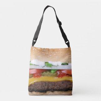 cheeseburger délicieux avec la photographie de sac