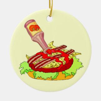 Cheeseburger suisse de lard avec le ketchup ornement rond en céramique