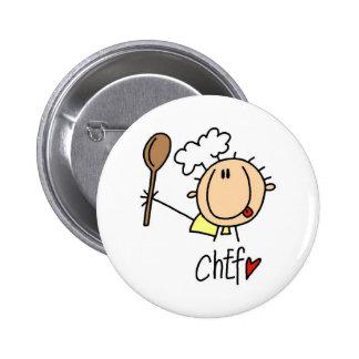 Chef avec des T-shirts et des cadeaux de cuillère Badges