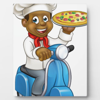 Chef de pizza de scooter de la livraison de bande impression sur plaque