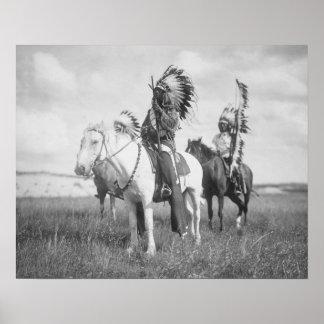 Chef indien à cheval, 1905. Photo vintage Affiche