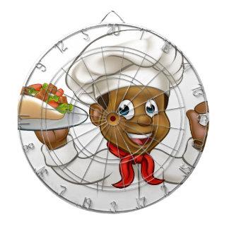Chef noir de bande dessinée avec le chiche-kebab jeu de fléchettes
