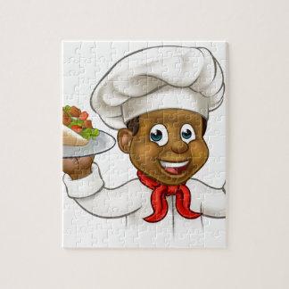 Chef noir de bande dessinée avec le chiche-kebab puzzles