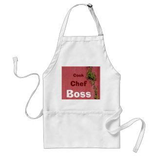 Chef rouge et rose de cuisinier de métiers de lier tabliers