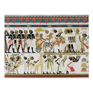 Chefs de Nubian apportant des présents Carte Postale
