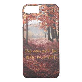 Chemin d'automne avec le poème lyrique d'hymne coque iPhone 7