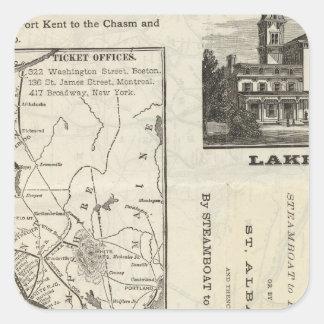 Chemin de fer central du Vermont de carte Sticker Carré