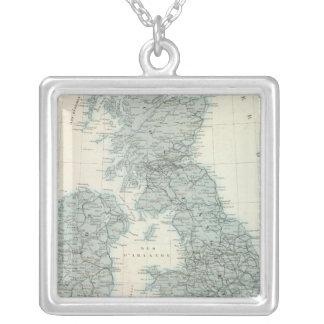 Chemin de fer et canaux des îles britanniques pendentif carré