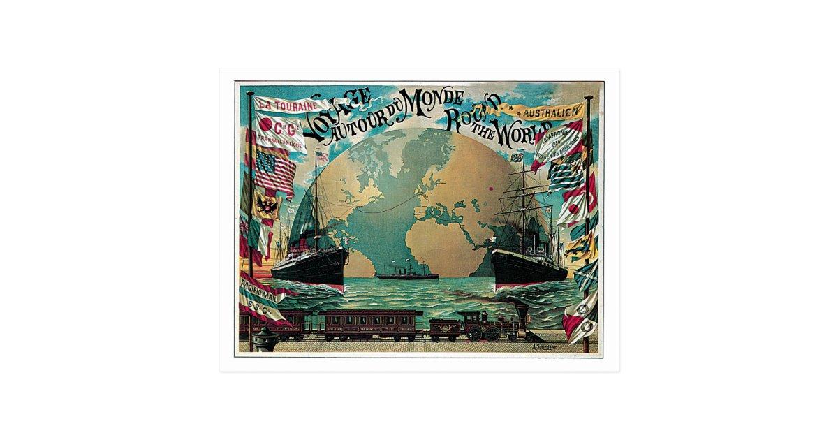 chemin de fer vintage et annonce de carte du monde. Black Bedroom Furniture Sets. Home Design Ideas