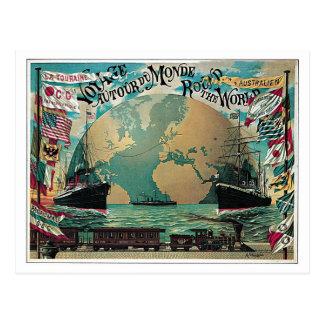 Chemin de fer vintage et annonce de carte du monde cartes postales