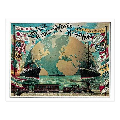chemin de fer vintage et annonce de carte du monde carte postale zazzle. Black Bedroom Furniture Sets. Home Design Ideas