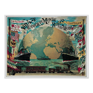 Chemin de fer vintage et annonce de carte du monde posters