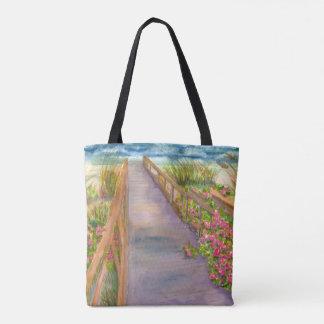 Chemin de roses de mer dans le sac fourre-tout à