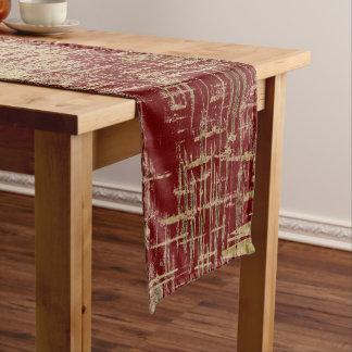 Chemin De Table Court Art moderne rouge foncé et d'or