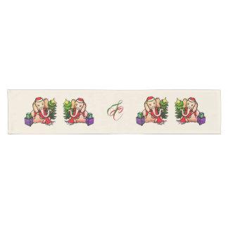 Chemin De Table Court Éléphants magnifiques de Père Noël de Noël avec le