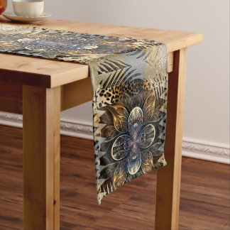 Chemin De Table Court Fleur sauvage africaine abstraite