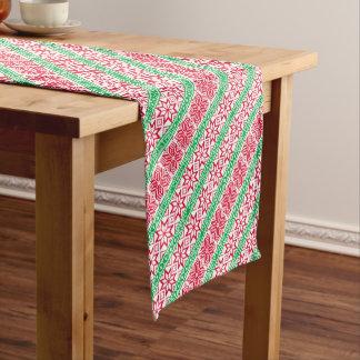 Chemin De Table Court Flocon de neige vert rouge laid de Joyeux Noël de