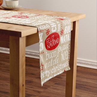 Chemin De Table Court Langues rouges et beiges d'énonciations de Noël