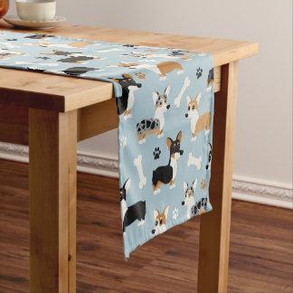 Chemin De Table Court Le corgi modèle le bleu