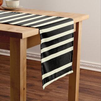 Chemin De Table Court Les rayures modèlent la crème noire de deux tons