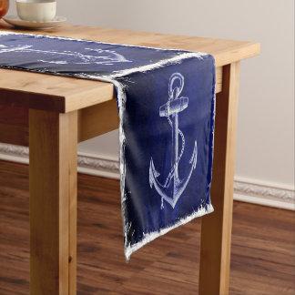 Chemin De Table Court mariage nautique d'ancre rustique de bleu marine