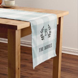 Chemin De Table Court Monogramme bleu de famille de contrôle de Buffalo