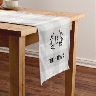 Chemin De Table Court Monogramme gris de famille de contrôle de Buffalo