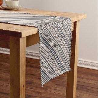 Chemin De Table Court Motif élégant beige/profondément bleu de rayure