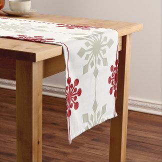 Chemin De Table Court Motif élégant rouge et blanc de Noël de flocon de