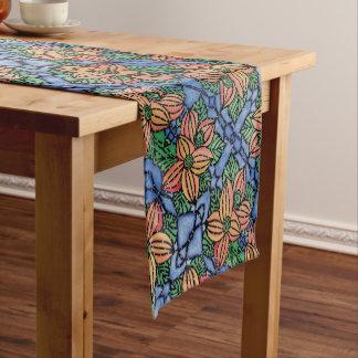 Chemin De Table Court Motif floral orange et bleu abstrait