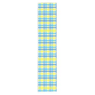Chemin De Table Court Motif géométrique moderne de guingan bleu et jaune