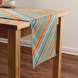 Chemin De Table Court Motif rayé multicolore
