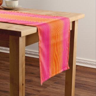 Chemin De Table Court Motif rayé orange et rose