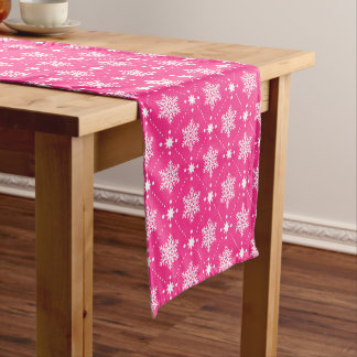 Chemin De Table Court Motif rose et blanc Girly de Noël de flocons de
