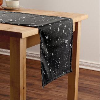 Chemin De Table Court Parties scintillantes Stars2 - Noir argenté