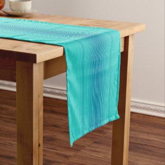 Chemin De Table Court Rayures abstraites de vert bleu de turquoise de