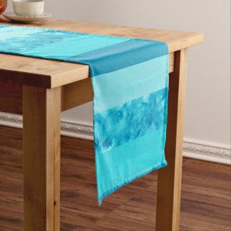 Chemin De Table Court Rayures de bloc de turquoise d'Aqua