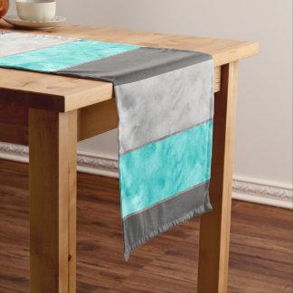 Chemin De Table Court Rayures grises de bloc de turquoise