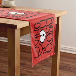 """Chemin De Table Court Vous aimant le blanc rouge 14"""" X 72"""" ajournent le"""