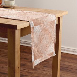 Chemin De Table Long Mandala rose d'or géométrique