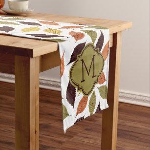 Chemin De Table Moyen Monogramme de coutume de motif de feuilles de