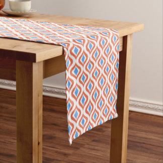 Chemin De Table Moyen Rétro motif bleu orange chic de baisses d'Ikat