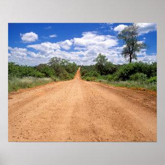 Chemin de terre, parc national de Kruger, Poster
