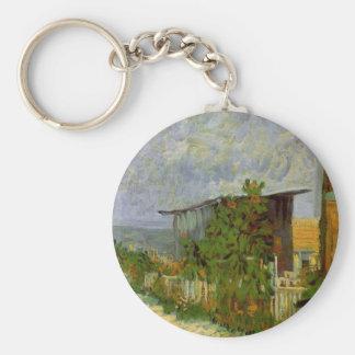 Chemin de Van Gogh Montmartre avec des tournesols, Porte-clé Rond