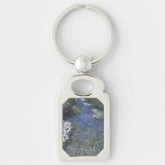 Chemin forestier bleu impressionniste porte-clé rectangulaire argenté